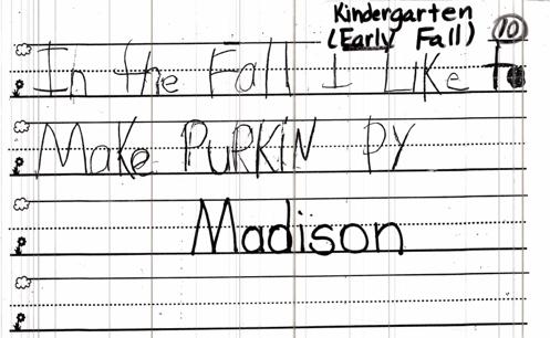 kindergarten one month writing sample