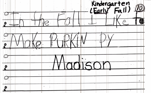kindergarten one month writing sample