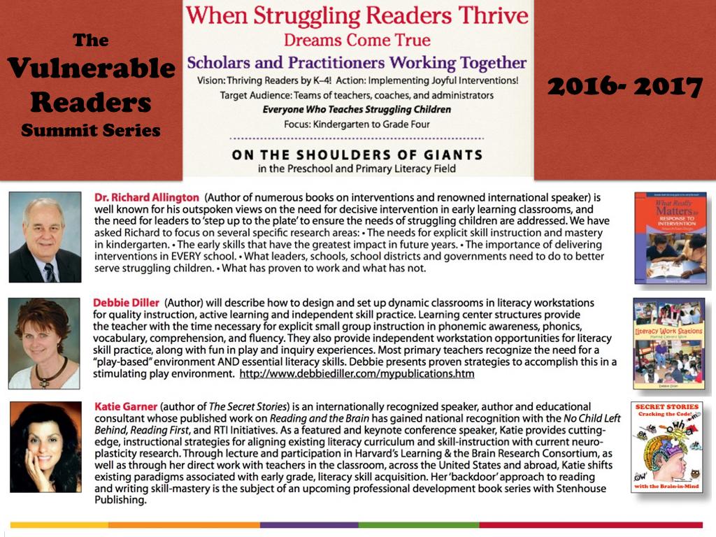 Katie Garner Richard Allington Vulnerable Learners Summit