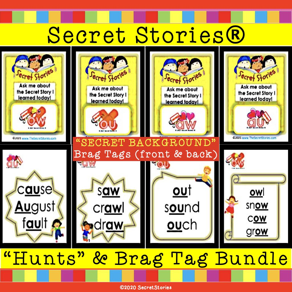 Secret Stories Phonics Brag Tags with Words